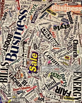 An abstract collage of newspaper headlines